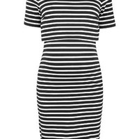 MATERNITY Stripe Overlay Nursing Dress - Black