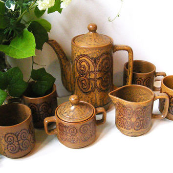 Midcentury Stoneware Coffee Set by GSArcheologist on Etsy