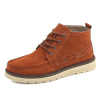 Men Stylish Classic Moc Toe Warm Plush Lining Lace Up Casual Ankle Boots