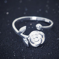 Gorgeous rose flower 925 sterling silver adjustable ring,a perfect gift