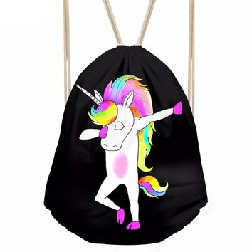 Dabbing Unicorn Drawstring Bags Cinch String Backpack Funny Funky Cute Novelty