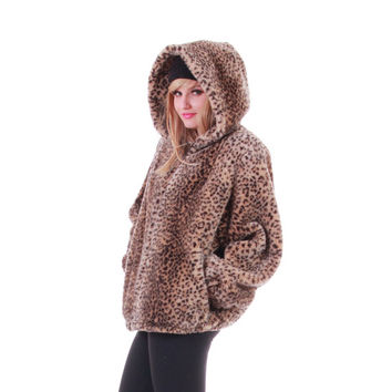 90s Faux Fur Hooded Jacket Leopard Print Thick Soft Coat Oleg Cassini Made in the USA Vintage Outerwear Womens Size Medium Large