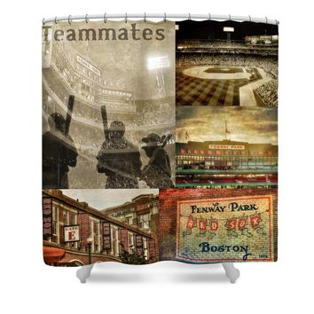 Vintage Red Sox Fenway Park Baseball Collage Shower Curtain