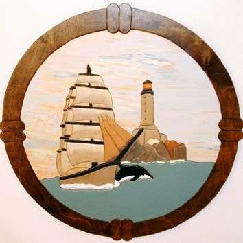 Wood Sculpture Ship and Lighthouse. This Wall Art is a Wall Hanging, Home Decor for Den or Office. Intarsia Wood Art.