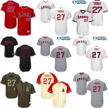 2017 Los Angeles Angels of Anaheim Jerseys 27 Mike Trout MLB Baseball Jersey Flexbase Cool Base Red Grey White stitched