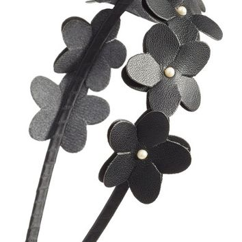 Cara Faux Leather Flower Headband | Nordstrom