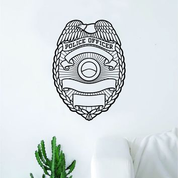 Police Officer Badge Decal Sticker Wall Vinyl Art Wall Bedroom Room Home Decor Inspirational Cop Sheriff