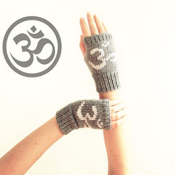 Om symbol fingerless gloves - knit mittens with sanskrit sound - yoga gloves gray
