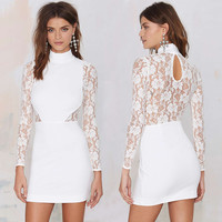 White Longsleeve Closed Neck Lace See-through Back Mini Dress