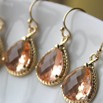 15% OFF SET OF 5 Wedding Jewelry Blush Bridesmaid Earrings Bridesmaid Jewelry - Champagne Blush Earrings Gold Peach Pink Teardrop Jewelry