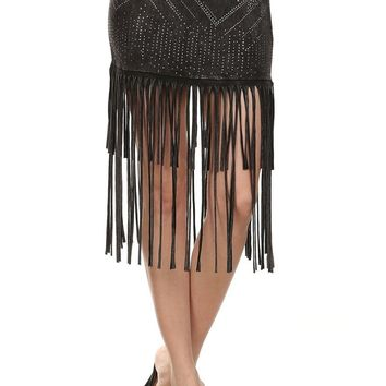 Roxi Stud Embellished Fringe Hem Mini Skirt