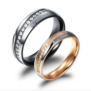 New Arrival Gift Shiny Jewelry Stylish Titanium Couple Innovative Diamonds Ring [11676769743]
