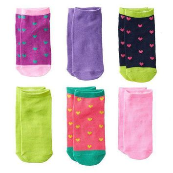 Pink Cookie 6 Pk. Sparkly Heart No Show Socks   Girls Size: