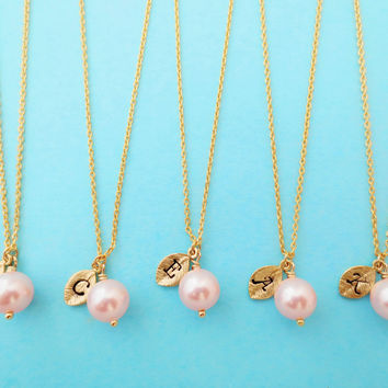 Set of 5, Personalized, Letter, Initial, 8mm, Pink, Pearl, Gold, Necklace, Sets, Wedding, Bridesmaid, Bride, Gift, Jewelry