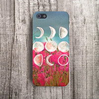 MOON iPhone Case Moon iPhone 5 Case, Floral iPhone 4 Case Spring iPhone5 case, iPhone 5S Case, iPhone 4 Case Phases of the Moon, Red iPhone