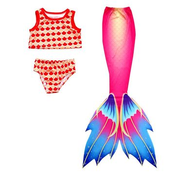 Children Mermaid Tail With Monofin For Swimming Cospaly kids Costumes girls swimsuit Dress Summer Vacation Swimmable Bikini Set