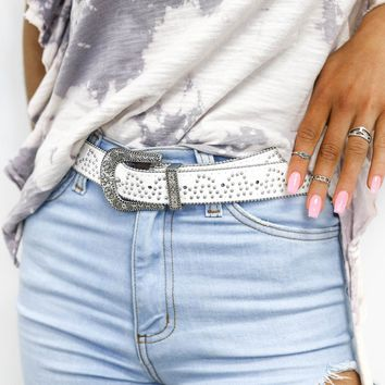 From Now White Boho Studded Western Belt