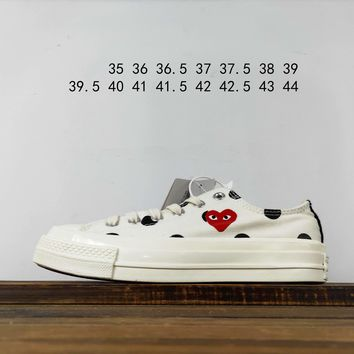 Kuyou Fa19630 Cdg X Converse Chuck Taylor 70s Hi/ox 18ss8 White Low Top Canvas Shoes