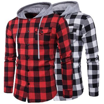 Winter Fall Men Plaid Shirt Camisas 2017 New Arrival Mens Long-sleeved Hooded Shirt Male Cotton Denim Casual High Quality Shirt