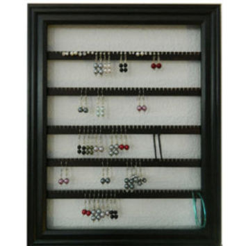Earring Holder - Holds 75 pair - Available in 6 Colors - 8x10 Frame - Lucky Day Designs - White