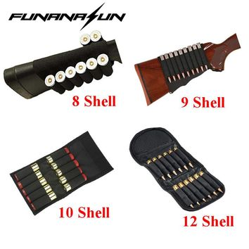 Tactical 12 GA/20 GA Shotgun Bullet Pouch 8 Grid 9 Shells Rifle Buttstock Shell Holder Or Reload Mag Pouch Wallet 10/12 Rounds