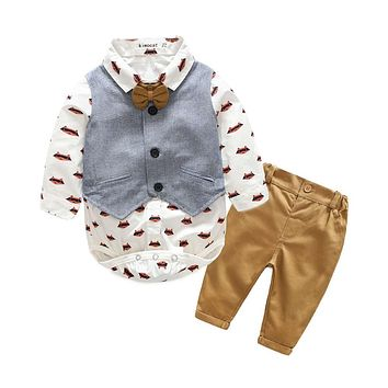 Baby boy's clothing sets infant clothes Baby Suit Boys cotton Bow Tie+ bodysuit + Vest + trousers