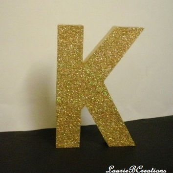 "GOLD GLITTER LETTERS- Personalized Gold/Antique Gold Tabletop or Wall Letters, Initials or Words - 8"" in A-Z"