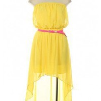 YELLOW HIGH-LOW CHIFFON TUBE DRESS WITH BELT @ KiwiLook fashion