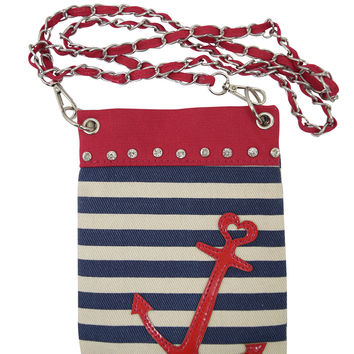 Nautical Love Navy Striped & Anchor Logo with Rhinestones small Crossbody purse