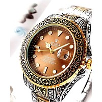 ROLEX Tide brand embossed pattern simple wild quartz watch