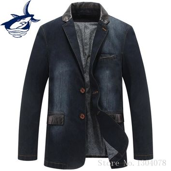 Puls Size 4XL Spring Autumn Homens Blazer Jacket Men Brand Tace & Shark Leather Spliced Denim Blazer Masculino Jeans Suit Coat