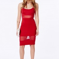 Missguided - Shilin Mesh Panel Strappy Midi Dress In Red