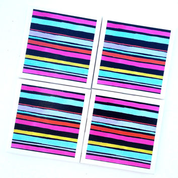 Pink Stripe Drink Coasters, Emine Ortega, Turquoise Stripes, Olive Green Stripes, Furniture Coaster,