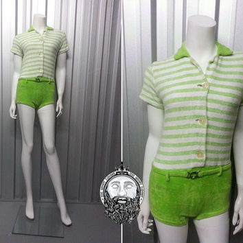 Vintage 60s Mod Striped Playsuit Mini Length Scooter Girl Beach Wear 1960s Romper Hot Pants Short Sleeve Bond Girl Play Suit Summer Outfits