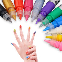 1set 12 Colors Professional Beautiful 3D Nail Art Paint Drawing Pen Acrylic Nail Art Polish Carved Pen Kit Set DIY nail tools