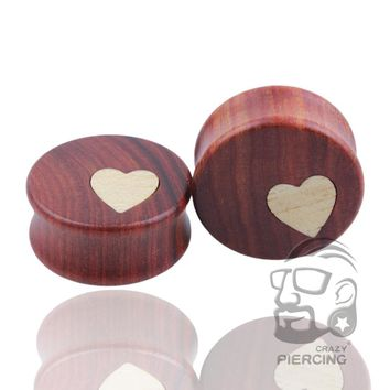 Wood Heart Ear Plugs Organic Wooden Saddle Earring Gauges Body Jewelry fashion earrings 2 pcs/lot
