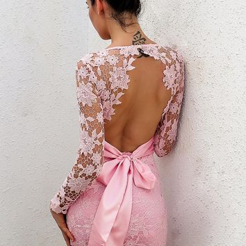 """Pretty in pink"" lace detail bow tie back mini dress"
