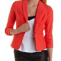 Red Three-Quarter Sleeve Single-Button Blazer by Charlotte Russe