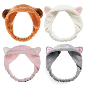 Fashion Lovely Soft Carol Fleece Cat Ear Makeup Cosmetic Shower Elastic Hair Band Spa Headband Wash Face Hairlace Headband HB011