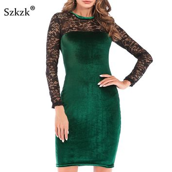 Sexy Women Lace Velvet Dress New Winter O-Neck Long Sleeve Wine Red Black Green Bodycon Midi Female Party Dresses