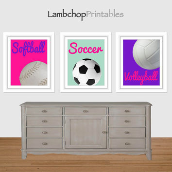 Girl Sports Printable Art, Softball Print, Soccer Print, Volleyball Print, Girls Room Decor, Nursery Art, Sports, Girl Art Print, hot pinl
