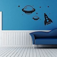 Wall Stickers Vinyl Decal Nursery Rocket Space Universe Planets Unique Gift ig1492