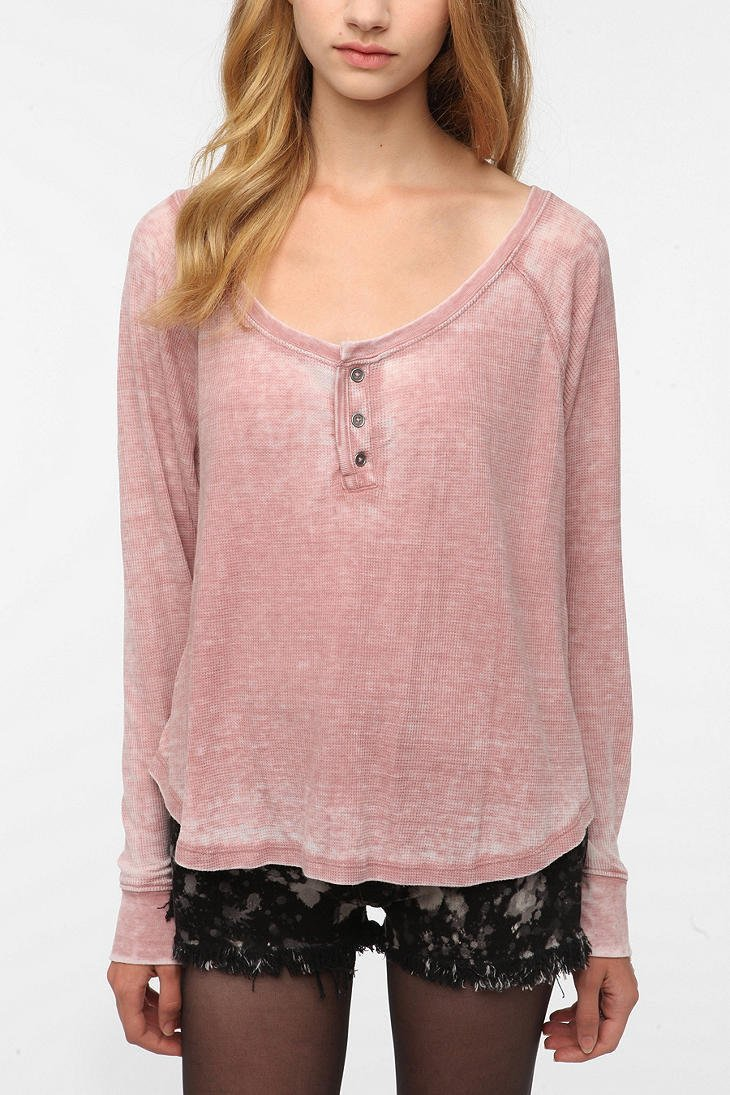 Ecote Burnout Thermal Henley Tee