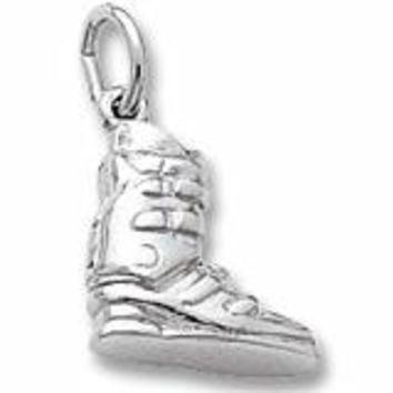 Ski Boot Charm In Sterling Silver