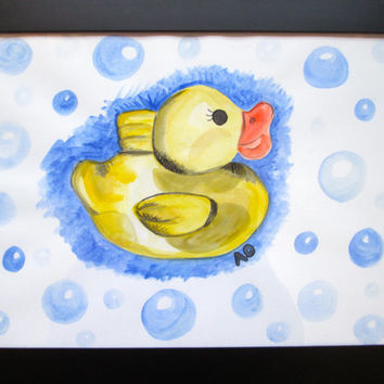 Rubber Duck 9x12 original watercolour painting.Bathroom decor,nursery art,baby room painting,yellow blue,bubble art,kid art,baby art,Ducky.