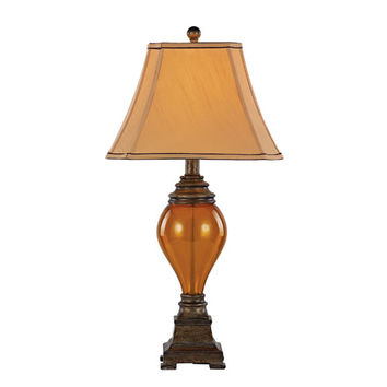 Trans Globe Lighting RTL-8788 Walnut Amber Table Lamp - Set of 2 with Amber Glass, Tea Stain Double Fabric Shade, Pleated Corners