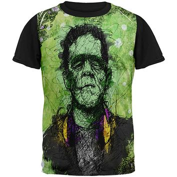 Halloween Frankenstein Raver Horror Movie All Over Mens Black Back T Shirt