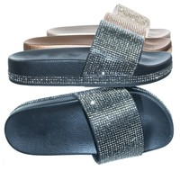 Viste07 Rhinestone Slide In PVC Molded Footbed Flatform Sandal Slippers