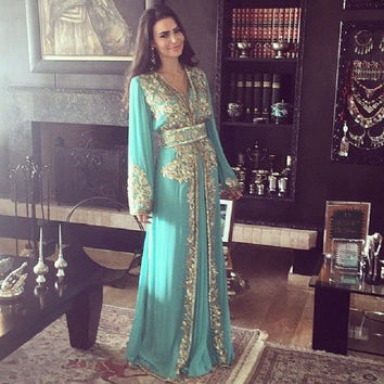 Dubai Long Sleeve Muslim Evening Dresses Elegant Chiffon Arabic Evening Gowns With Appliques Moroccan Clothing Abaya Dress 2015