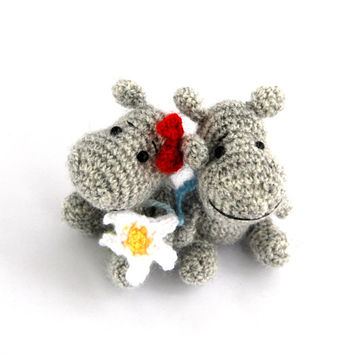 miniature hippopotamus pair, two of a kind, perfec gift for twins, crochet hippo baby girl and boy, small crochet animals, gift for siblings